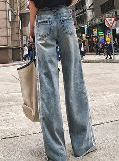 Chic Denim High Waist Splicing Wide Leg Pants