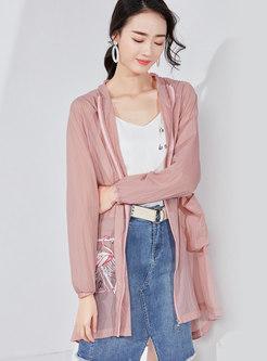 Casual Print Hooded Zipper Sunscreen Coat
