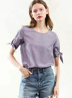 Brief O-neck Short Sleeve Bowknot Pullover T-shirt