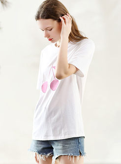 Casual O-neck Embroidered Cotton Pullover T-shirt