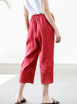 Fashion Solid Color High Waist Straight Pants