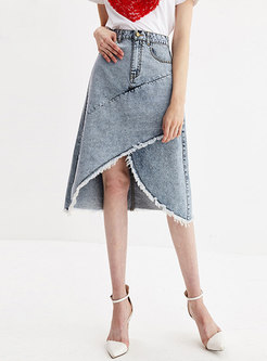Brief Denim Irregular Split High Waist Skirt