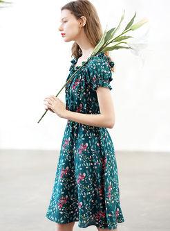 Fashion O-neck Print High Waist Skater Dress