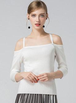 Solid Color Off Shoulder Slip Knitted Top