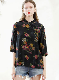 Retro Mandarin Collar Print Silk Blouse