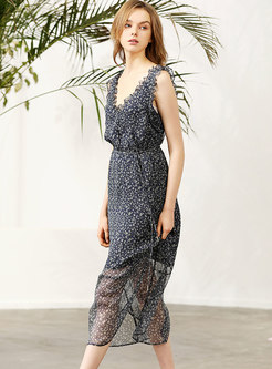 Print Splicing Silk V-neck Sleeveless Sheath Dress