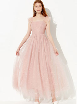 Sweet Square Neck Sleeveless Mesh Polka Dot Dress