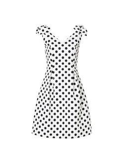 V-neck Bowknot Sleeveless Polka Dot Dress