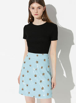High Waist Star Print Slim Mini Skirt