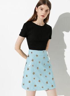 High Waist Star Print Slim Mini Skirt