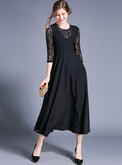Chic Lace Splicing Hollow Out Slim Maxi Dress