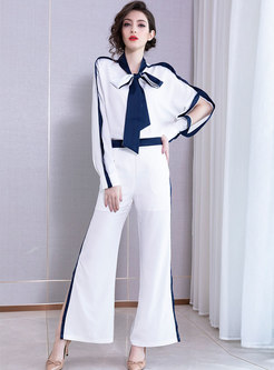 Color Block Tie-collar Slit Palazzo Pant Suits