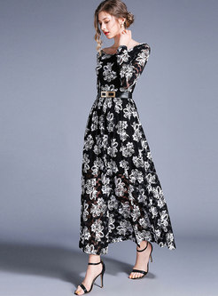 Retro Lace Print Belted Slim Maxi Dress