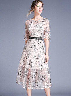 Lace Embroidered Flare Sleeve High Waist Skater Dress