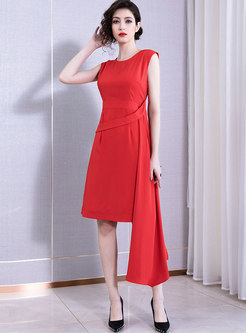 Pure Color O-neck Sleeveless Asymmetric Midi Dress