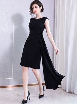 Elegant O-neck Sleeveless Asymmetric Midi Dress