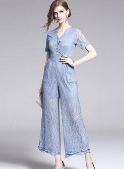 Fashion V-neck Short Sleeve Lace Wide Leg Jumpsuits