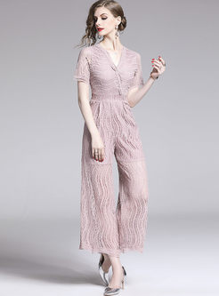 Brief Solid Color V-neck Openwork Lace Jumpsuit