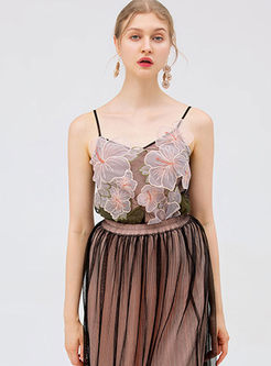Sexy V-neck Embroidered Perspective Cami