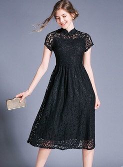 Lace Mandarin Collar High Waist Skater Dress