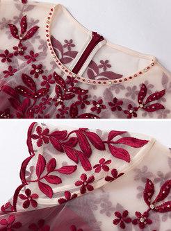 Elegant Splicing Embroidered Slim Party Dress