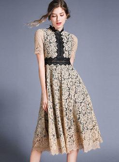 Color-blocked Short Sleeve Lace High Waist Dress