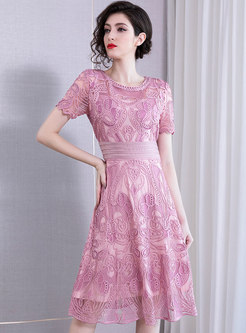 O-neck Embroidered Gathered Waist Party Dress
