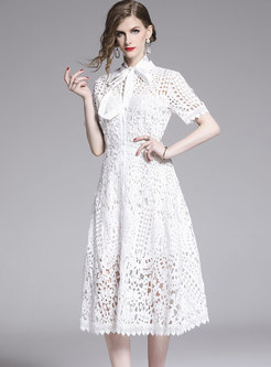Lace Tied-collar Hollow Out White Slim Skater Dress