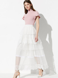 Mesh Pure Color Sweet High Waist A Line Skirt