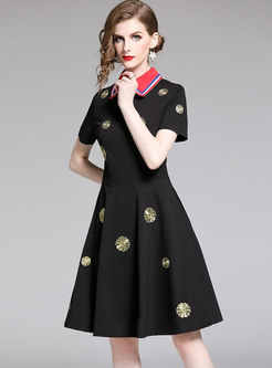 Hit Color Embroidered Big Hem A Line Dress