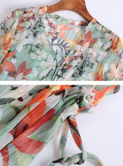 Multi-color Tied V-neck Flare Sleeve Shift Dress