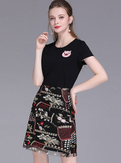 Retro High Waist Embroidered Mesh A Line Skirt
