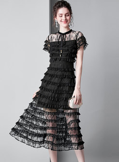 See-through Black Splicing Tied Stand Collar Skater Dress