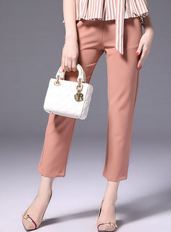 Brief Solid Color Easy-matching Straight Pants