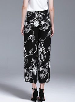 Bowknot High Waist Print Splicing Lace Pants