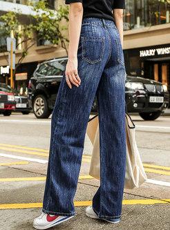 Deep Blue Denim High Waist Wide Leg Pants