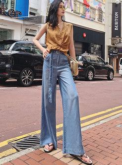 Casual Denim Belted Wide Leg Pants