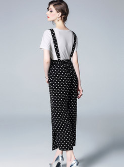 Brief Pure Color T-shirt & Polka Dot Overalls