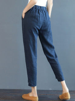 Casual Solid Color Slim Harem Pants