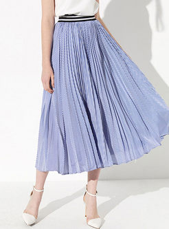 Elastic High Waist Big Hem Pleated Skirt