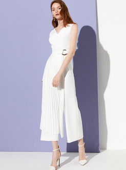 Fashion V-neck Sleeveless Pleated Splicing Jumpsuits