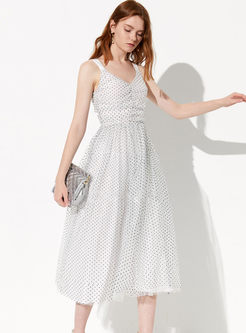 Trendy V-neck Sleeveless Polka Dot Big Hem Dress