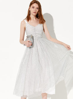 Trendy V-neck Sleeveless Polka Dot Big Hem Dress