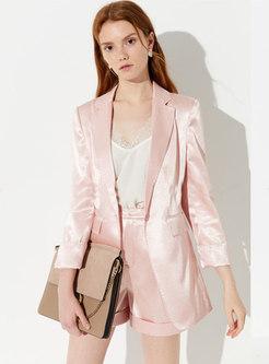 Elegant Turn Down Collar Slim Blazer & Shorts