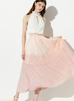 Color-blocked Splicing Elastic Waist Long Skirt