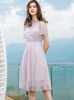Solid Color O-neck Hollow Out Lace Pleated Dress