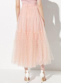 Pink Polka Dot Elastic Waist A Line Skirt