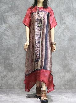 Retro Print O-neck Asymmetric Maxi Dress With Cami