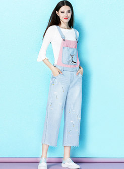 Chic Animal Embroidered All-matched Denim Overalls