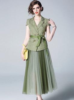 All-matched Slim Blazer & Mesh Color-blocked Splicing Skirt
